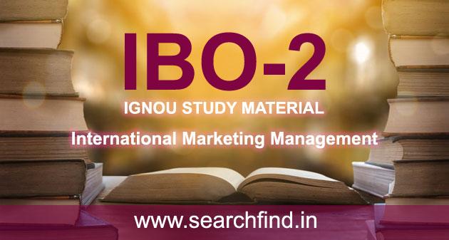 IGNOU IBO 2 Study Material Free Download